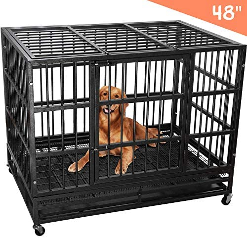 Royaledirect Heavy Duty Dog Cage Crate, Pet Kennel Strong Metal for Training Large Dog, Easy to Assemble, with Two Prevent Escape Lock, Lockable Wheels, Removable Tray for Indoor Outdoor 42in 48in