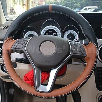 JI Genuine Leather Steering Wheel Cover for Mercedes Benz CLS550 CLA250/Mercedes Benz E250 E350 E400 E550/Mercedes Benz GLA250 GLK250 GLK350 /C250 C300 C350 ...