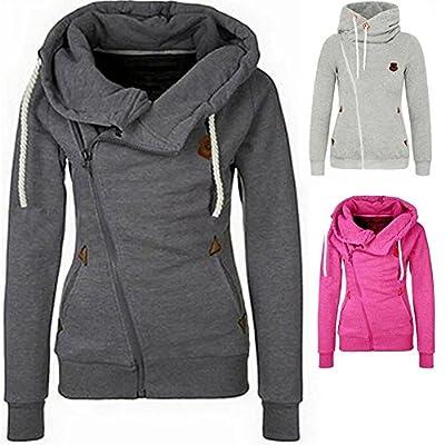 Pop lover Women's Fashion Hoodies Tilt Zipper Casual Sweatshirt