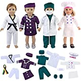ZITA ELEMENT Quality 19 Pcs Clothes Outfits for American Girl Doll Cosplay | Flight Attendant, Karate, Doctor/Nurse, Cook | Best Premium & Reward Gift for Girls, Boys, Kids