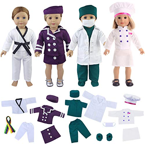 ZITA ELEMENT Quality 19 Pcs Clothes Outfits for 18 Inch Girl Doll Cosplay - Flight Attendant, Karate, Doctor Nurse, Cook - Best Premium and Reward Gift for Girls, Boys, Kids (Customized American Girl Doll)