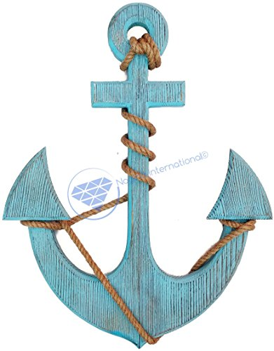 Premium Pine Nautical Antique Colored Sailor's Decor Anchor With Vintage Rope | Wall Hanging | Nagina International (24 Inches, Antique Dark Blue)