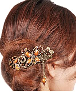 454c68718aad3 Coffe Women s Vintage Style Butterfly Inlaid Bead Beaded Hair Pin Clip  Barrette for Long Hair Ponytail