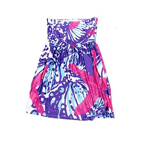 MONOBLANKS Lilly Inspired Print Beach Cover up Summer Strapless Beach Dress (S/M, Starfish) ()