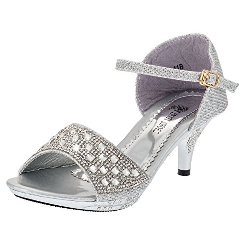 Infiniti Shoes Modische Mädchen Pumps mit Glitzer und Strassperlen #167si Silber