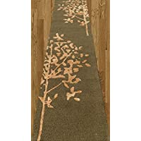 Homemusthaves Brown Gold Modern Long Runner Rug 2.6x10 2.6 X 10 Feet Carpet Rugs 100% Wool Hand Made