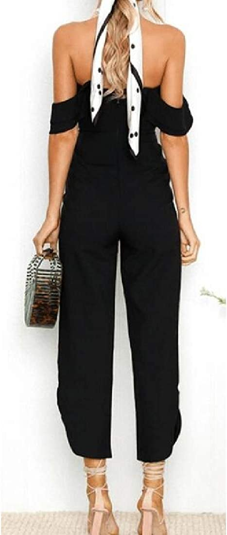 Fubotevic Womens Ruffle Pure Color Strapless Summer Wide Leg Palazzo Pants Jumpsuit Romper
