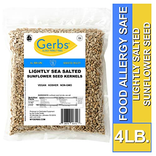 Gerbs Lightly Sea Salted Sunflower Seed Kernels 4 LBS. - Top 14 Food Allergy Free & NON GMO - Vegan, Keto Safe & Kosher - Dry Roasted Hulled Seeds Grown - 4 Lb Pumpkin