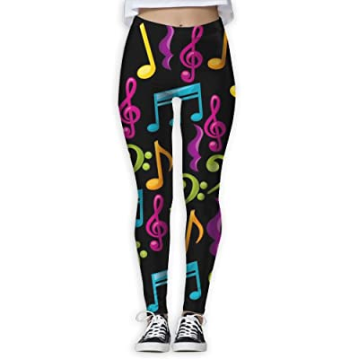 KUKUUU Music Note Comfort Yoga Pants For Women Travel Workout Compression Leggings
