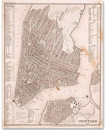 (New York City Map Art From 1844-11x14 Unframed Patent Print - Makes a Great Gift Under $15 for Home Decor)
