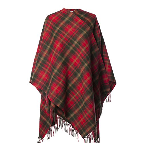 Edinburgh 100% Lambswool Scottish Tartan Long Cape Maple (One Size)
