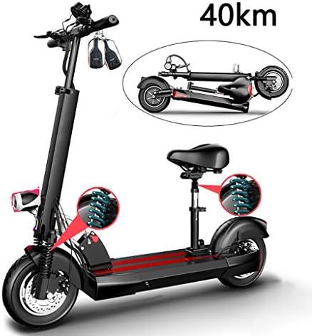 電動スクーター400W高出力、10インチEスクーター、LCDディスプレイ付き折りたたみ式、40KM長距離、36V充電式バッテリーキックスクーター、最大速度45km / h、大人用、最大負荷200kg
