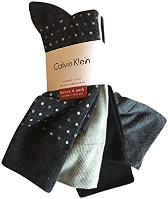 Calvin Klein Men's Dress Socks 4 Pack Grey Black Polka Dot