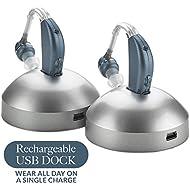 Digital Hearing Amplifier - (Pair of 2) Personal Hearing Enhancement Sound Amplifier, Rechargeable Digital Hearing Amplifier with All-Day Battery Life, Modern Blue