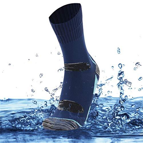 SuMade 100% Waterproof Golf Socks, Womens Mens Athletic Breathable Outdoor Dry Feet Crew Socks for Trekking Sailing Running 1 Pair (Blue, Medium)