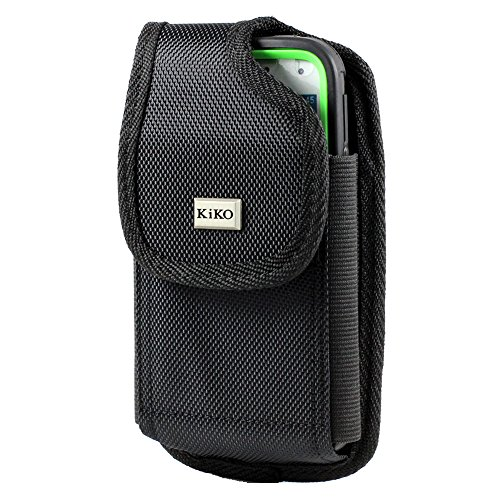IPHONE 6 PLUS 5.5 INCH SCREEN XXL SIZE HEAVY DUTY BLACK VERTICAL NYLON CASE POUCH HOLSTER WITH BELT CLIP (Fits IPHONE 6 PLUS 5.5 INCH SCREEN with OTTER BOX Defender / LIFEPROOF / Mophie Juice Pack Air/Plus Case On)