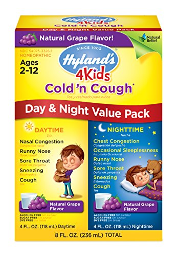 Kids Cold and Cough Day and Night Value Pack by Hylands 4Kids, Grape Flavored Natural Common Cold Symptom Relief, 8 Fl Oz (Packaging May Vary)