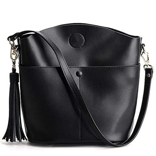 Handbag Bag Leather Ladies Black Edged Handbag Fashion Leather Diagonal Handbag Fringed Bag Cowhide Zzx6Onwq