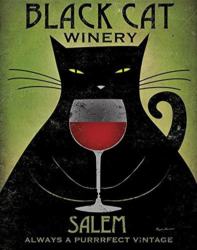 Black Cat Winery Salem by Ryan Fowler 14x11 Art Print Poster - Always the Purrrfect (Black Cat Art)