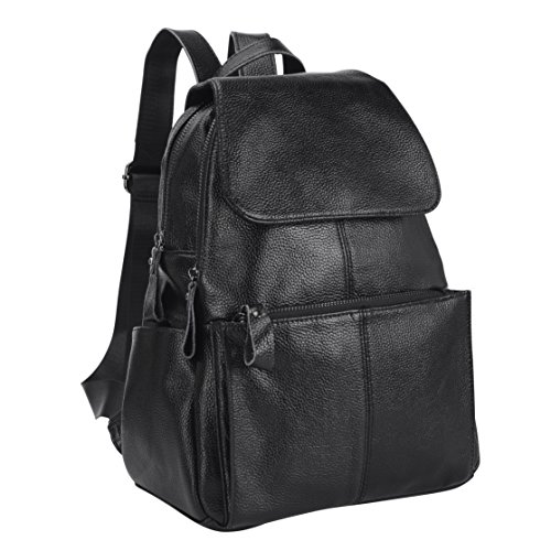 Belle & Lily Black Genuine Pebbled Leather Backpack Purse Casual Daypack for Girls Ladies Women Schoolbag Travelling Shopping Back to School(BL01)