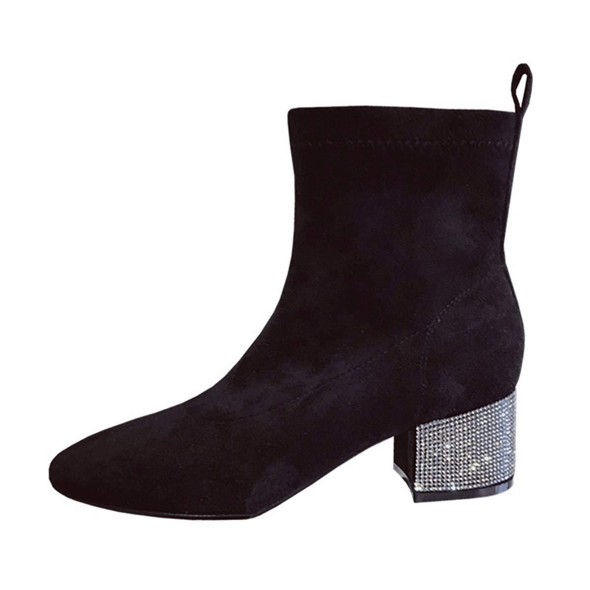 LBTSQ Fashion Damenschuhe Wasser Läuft Stiefel Heel 4Cm Slim Wildleder Runden Kopf Dicke Sohle Stiefel Schwarz - Mode - Stiefel
