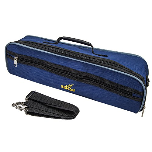 Sky Brand New C Flute Hard Case Cover w Side Pocket/Handle/Strap Deep Blue Color