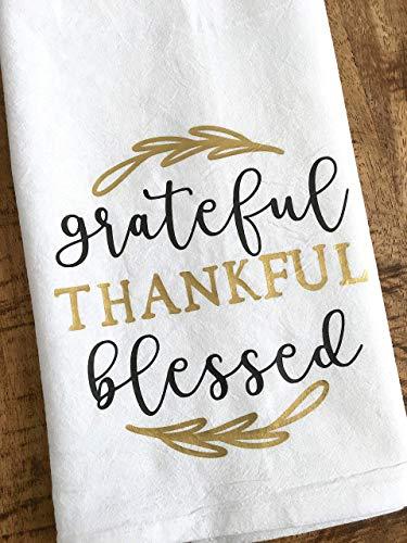 Grateful Thankful Blessed Kitchen Tea Towel Thanksgiving Hostess Gift