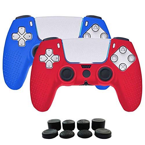 2 fundas + 8 grips para control playstation 5 rojo-azul