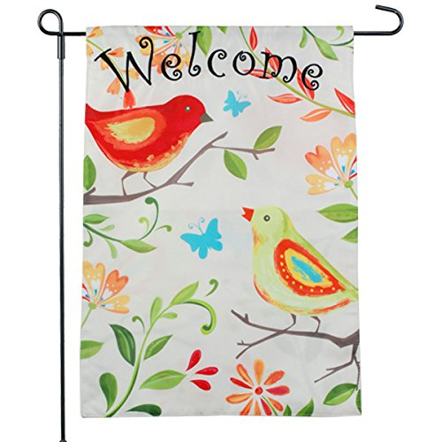 Bird Garden Flag - Spring Welcome Design - Cream Summer Garden Flag 12.5 x (Cream Flag)