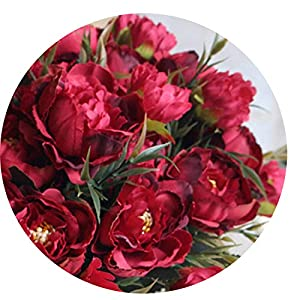 Miao Express 8 Head Mini Artificial Peony Silk Flowers Bouquet European for Wedding Bride Party Fake Flowers Bouquet Home Garden Decoration 119