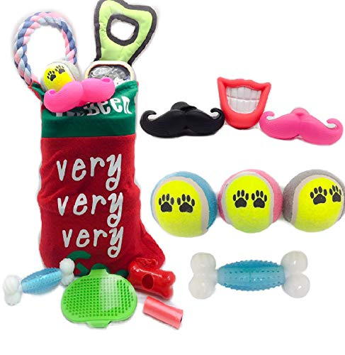 Christmas Stockings for Dogs - GIVE Your Puppy The Best PET Stocking Stuffers for Dogs and Puppies - Interactive Balls, TUG Toy, Dog Treats, Dog Brush, Dog Rope Toy