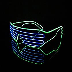PINGGE US - Black Frame Colorful El Wire Neon LED Light Up Shutter Shaped Glasses for Rave Costume Party - Two Colors+ Standard Controller (Blue + Light Green)