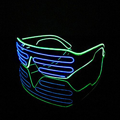 Sas Costume (PINGGE US - Black Frame Colorful El Wire Neon LED Light Up Shutter Shaped Glasses for Rave Costume Party - Two Colors+ Standard Controller (Blue + Light Green))