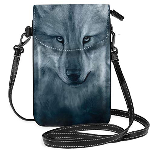 Small Cell Phone Purse For Women Leather Wolf Spirit Exclusive Insides Card Slots Crossbody Bags Wallet Shoulder Bag