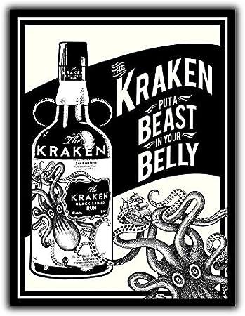 PotteLove Placa de Pared de Metal con Texto en inglés Kraken ...