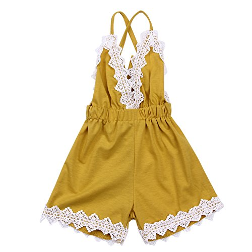 - chinatera Baby Toddler Girls Halter Romper, One-Pieces Jumpsuit, Sky-Blue Sunsuit for Summer (Yellow, 6-12 M)