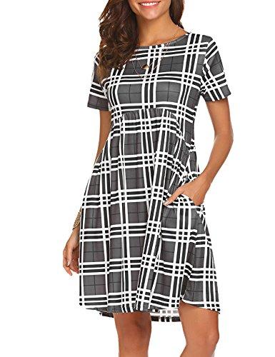 Plaid Empire Dress (Halife Women's Plaid Empire Waist Above Knee Length Dress With Pockets Dark Grey,XXL)