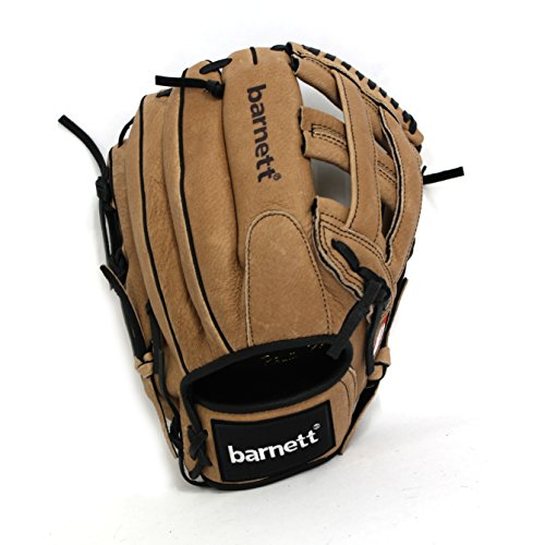 SL-127 leather baseball glove, outfield, size 12.7'', Brown (left) by Barnett