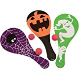 1 Dozen (12) FUN Halloween Paddle Ball Games- 9' Wooden- Gift Party Favor Giveaway Goody Bag
