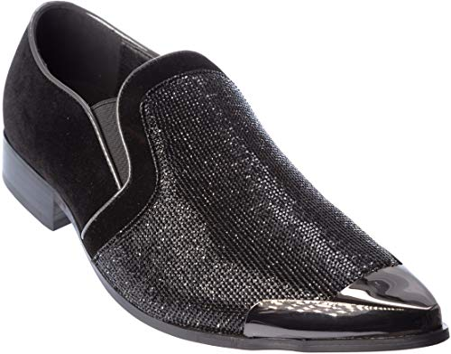 - Cristiano Mens Slip-On Fashion-Loafer Sparkling-Glitter Metal-Tip Black Dress-Shoes Size 12