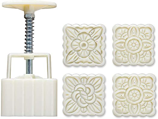 4Pcs Flower Stamp Moon Cake Decor Mould DIY Pastry Square Mooncake Mold Tools