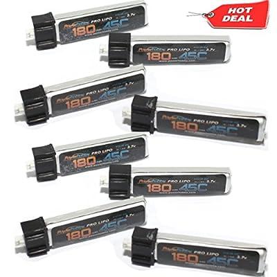 PowerHobby 1S 3.7V 180Mah 45C Lipo Battery 8 Pack Fits All: Blade Nano QX, Nano QX FPV, Tiny Whoop,UMX Radian, Blade Inductrix, Champ, UMX T-28,Night Vapor, Sport Cub S, mcx2, msr, Parkzone: Toys & Games
