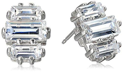 Sterling Silver Baguette Cubic Zirconia Three Stone Stud Earrings - 3 Stone Baguette