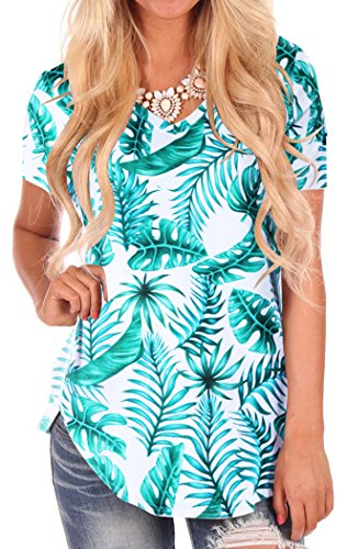 Women Irregular Hem Green Leaf Print Tee Shirts Plus Size S