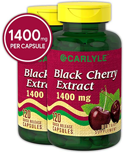 Black Cherry Capsules 1400 mg 240 Count | Non-GMO, Gluten Free | from Extract Concentrate | by Carlyle