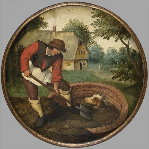 (Oil Painting 'Pieter Brueghel II,It Is Too Late To Fill In The Well After The Calf Has Drowned,1564-1636' 24 x 24 inch / 61 x 61 cm , on High)