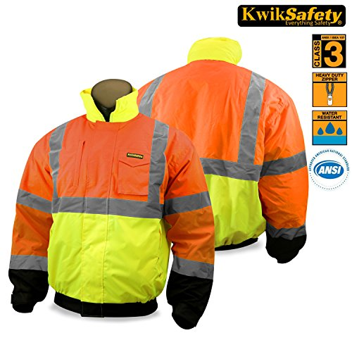 KwikSafety Clearance | Tri-Colored Safety Bomber Jacket | Hi Viz Long Sleeve Reflective Work Wear | Water Resistant Foldable Hideaway Hood Thermal Lining | Construction Motorcycle Security | Large