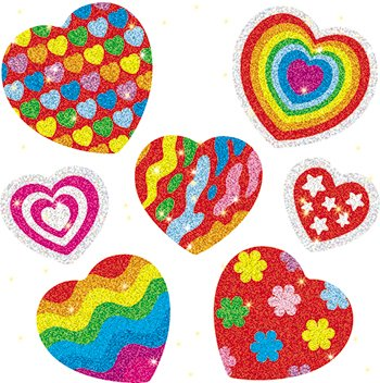 * DAZZLE STICKERS HEARTS 105-PK ACID