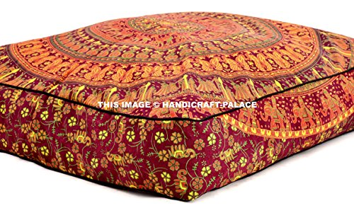 HANDICRAFT-PALACE 35x35 inch Square Floor Cushion, Elephant Mandala Throw Pillowcase Decorative Pouf, Indian Outdoor Cushion Cover, Boho Ottoman, Pillow Shams