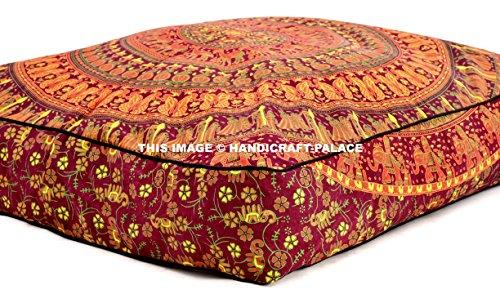 - HANDICRAFT-PALACE 35x35 inch Square Floor Cushion, Elephant Mandala Throw Pillowcase Decorative Pouf, Indian Outdoor Cushion Cover, Boho Ottoman, Pillow Shams